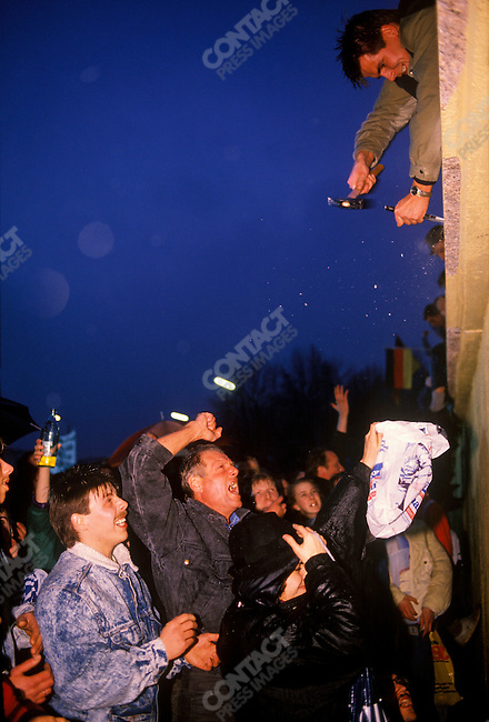 The opening of the Berlin Wall, near Brandenburg Gate. Berlin, West Germany, December 1989