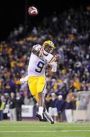 Sept. 5, 2009; Seattle, WA, USA; LSU Tigers quarterback (9) Jordan Jefferson throws a touchdown pass in the fourth quarter against the Washington Huskies at Husky Stadium. LSU defeated Washington 31-23. Mandatory Credit: Mark J. Rebilas-