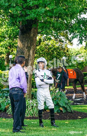 Daniel Centeno in the paddock before winning aboard Dark Nile in The Delaware Oaks (gr 3) at Delaware Park on 7/9/16