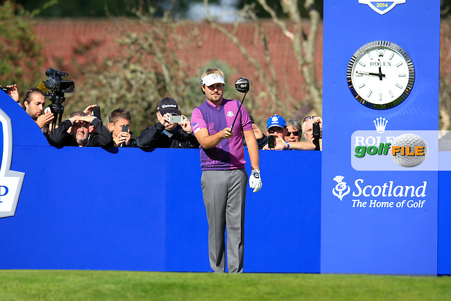 Victor Dubuisson (EUR) during Practice on Wednesday at the 40th Ryder Cup, The Gleneagles Hotel, Perthshire from 26th to 28th September 2014<br /> Picture Eoin Clarke, www.golffile.ie