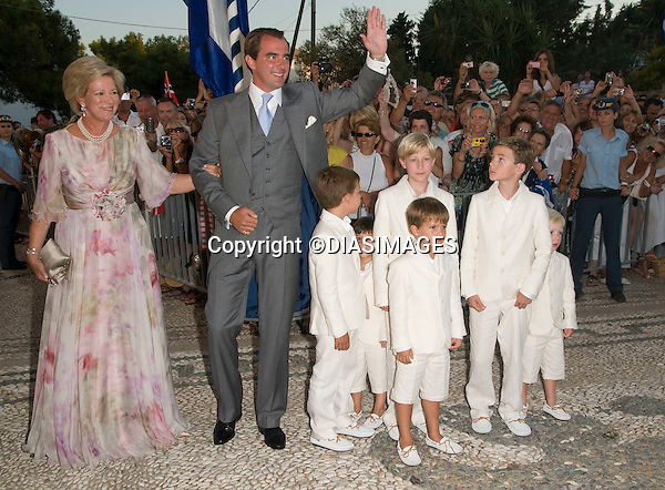 "PRINCE NIKOLAOS AND TATIANA BLATNIK WEDDING_Prince Nikolaos, Queen Anne-Marie and Page Boys..St Nikolaos Church, Spetses, Greece_25/08/2010.Mandatory Credit Photo: ©DIASIMAGES..**ALL FEES PAYABLE TO: ""NEWSPIX INTERNATIONAL""**..IMMEDIATE CONFIRMATION OF USAGE REQUIRED:.Newspix International, 31 Chinnery Hill, Bishop's Stortford, ENGLAND CM23 3PS.Tel:+441279 324672  ; Fax: +441279656877.Mobile:  07775681153.e-mail: info@newspixinternational.co.uk"