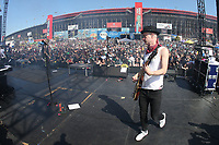 03/17/19 Fontana, CA: Tom Thacker<br />  and SUM 41 perform before the Auto Club 400 at the Auto Club Speed Way in Fontana, CA
