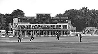 Black & White artistic effect. Mitch Claydon bowls a Glamorgan player with the Leslie Ames stand providing a backdrop during the Royal London One Day Cup game between Kent and Glamorgan at the St Lawrence Ground, Canterbury, on May 25, 2018