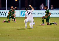 13th July 2020, Orlando, Florida, USA;  Los Angeles Galaxy midfielder Sacha Kljestan (16) kneels during the MLS Is Back Tournament between the LA Galaxy v Portland Timbers on July 13, 2020 at the ESPN Wide World of Sports, Orlando FL.