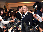 November 29, 2016, Tokyo, Japan - Vice President John Coates of the International Olympic Committee speaks to the media following a four-party meeting to review costs and venues for the 2020 Tokyo Olympics and Paralympics at a Tokyo hotel on Tuesday, November 29, 2016. The four top-level representatives of the IOC, 2020 Games organizers, the Tokyo Metropolitan and Japanese governments discussed details regarding the venues for rowing/canoe and volleyball based on proposals by the metropolitan government.  (Photo by Natsuki Sakai/AFLO) AYF -mis-