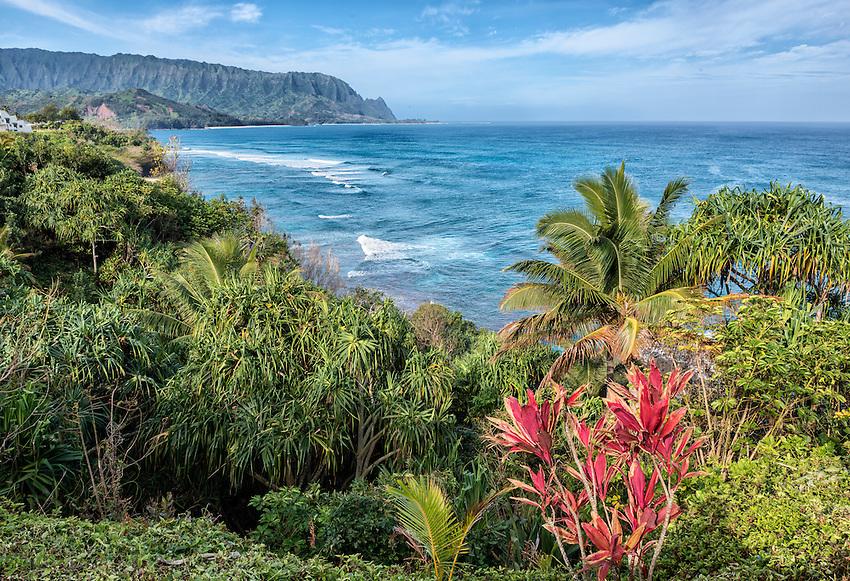 View of Bali Hai (real name Mount Makana) from Pali Ke Kua, Princeville, Kauai.