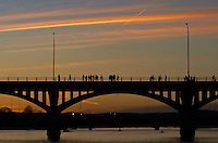 Bat watchers gather on the Congress Street Bridge to watch the Bats evening flight