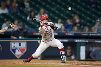 Kennon Fontenot (14) of the Louisiana Ragin' Cajuns lays down a bunt against the Mississippi State Bulldogs in game three of the 2018 Shriners Hospitals for Children College Classic at Minute Maid Park on March 2, 2018 in Houston, Texas.  The Bulldogs defeated the Ragin' Cajuns 3-1.   (Brian Westerholt/Four Seam Images)