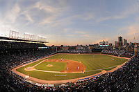 CHICAGO - APRIL 15:   A general view of the ballpark's architecture at sunset at Wrigley Field in Chicago, Illinois on April 15, 2008.   (Photo by Chris Bernacchi/MLB Photos via Getty Images)