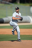 Delmarva Shorebirds starting pitcher Brian Gonzalez (25) in action against the Kannapolis Intimidators at Kannapolis Intimidators Stadium on April 13, 2016 in Kannapolis, North Carolina.  The Intimidators defeated the Shorebirds 8-7.  (Brian Westerholt/Four Seam Images)