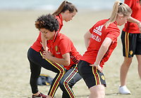 20180305 - LARNACA , CYPRUS :  Belgian Kassandra Missipo pictured during a Muscular warm up training session on the beach before a women's soccer game between The Belgian Red Flames and Austria , on monday 5 March 2018 on the CTO Beach in Larnaca , Cyprus . The game will be the third game in group B for Belgium during the Cyprus Womens Cup , a prestigious women soccer tournament as a preparation on the World Cup 2019 qualification duels. PHOTO SPORTPIX.BE | DAVID CATRY