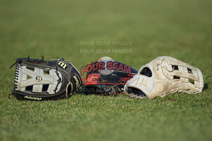 Baseball gloves belonging to Catawba Indians players lie on the field prior to the game against the Belmont Abbey Crusaders at Abbey Yard on February 7, 2017 in Belmont, North Carolina.  The Crusaders defeated the Indians 12-9.  (Brian Westerholt/Four Seam Images)