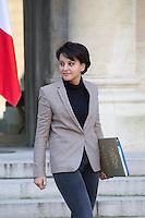 PARIS , PALAIS DE L'ELYSEE LE 18 / 01 / 2017<br /> SORTIE DU CONSEIL DES MINISTRES<br /> NAJAT VALLAUD BELKACEM , MINISTRE DE L'EDUCATION NATIONALE
