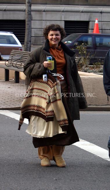 "Ginnifer Goodwin walking on the set of ""Mona Lisa Smile"" at Columbia University.  New York, January 9, 2003. Please byline: Alecsey Boldeskul/NY Photo Press.   ..*PAY-PER-USE*      ....NY Photo Press:  ..phone (646) 267-6913;   ..e-mail: info@nyphotopress.com"