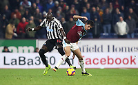 Newcastle United's Mohamed Diame and Burnley's Matthew Lowton<br /> <br /> Photographer Rachel Holborn/CameraSport<br /> <br /> The Premier League - Burnley v Newcastle United - Monday 26th November 2018 - Turf Moor - Burnley<br /> <br /> World Copyright &copy; 2018 CameraSport. All rights reserved. 43 Linden Ave. Countesthorpe. Leicester. England. LE8 5PG - Tel: +44 (0) 116 277 4147 - admin@camerasport.com - www.camerasport.com