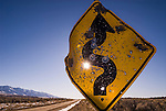 Shot-up curse ahead sing along the roadway, Nevada