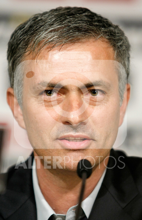 Real Madrid's new coach Jose Mourinho during his presentation. May 31, 2010. (ALTERPHOTOS/Alvaro Hernandez)