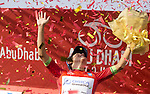 Esteban Chavez (COL) Orica GreenEdge wins Stage 3, The Al Ain Stage, of the 2015 Abu Dhabi Tour starting from the Al Qattara Souq in Al Ain and running 129 km to the mountain top finish at Jebel Hafeet at 1025 metres, Abu Dhabi. 10th October 2015.<br /> Picture: ANSA/Claudio Peri | Newsfile