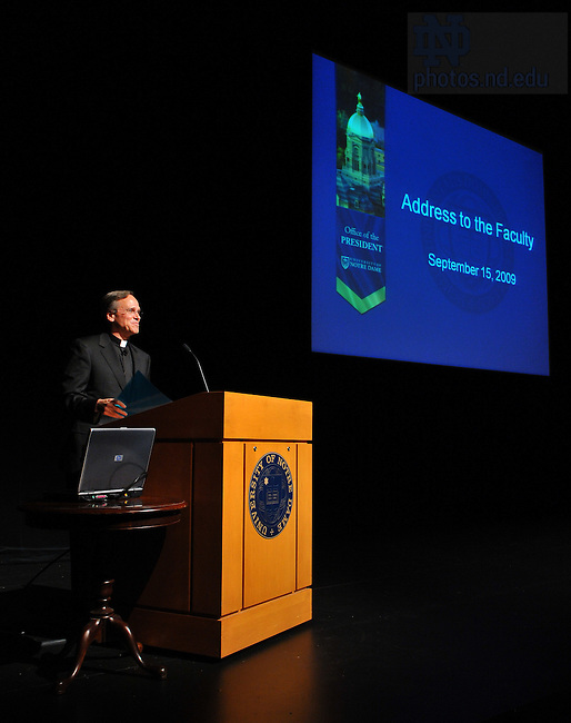 Fr. Jenkins delivers his annual address to the faculty Sept. 15, 2009 in the Decio Mainstage Theatre at the DeBartolo Performing Arts Center...Photo by Matt Cashore/University of Notre Dame