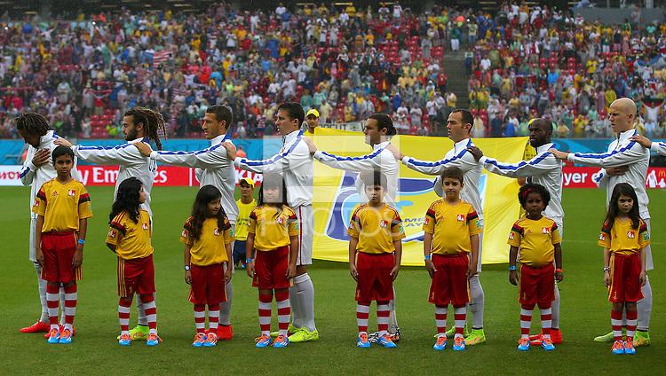 USA players sing their national anthem