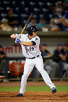 Pensacola Blue Wahoos Shrimp shortstop Luis Gonzalez (19) at bat during a game against the Jacksonville Jumbo on August 15, 2018 at Blue Wahoos Stadium in Pensacola, Florida.  Jacksonville defeated Pensacola 9-2.  (Mike Janes/Four Seam Images)