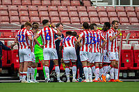 27th June 2020; Bet365 Stadium, Stoke, Staffordshire, England; English Championship Football, Stoke City versus Middlesbrough; Stoke City Manager Michael O'Neill gives his players instructions during the water break