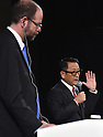 November 6, 2015, Tokyo, Japan - President Akio Toyoda of Japans Toyota Motor Corp. announces the establishment of a new research and development arm headquartered in Silicon Valley in California during a news conference at a Tokyo hotel on Friday, November 6, 2015. The worlds largest automaker will invest one billion dollars over the next five years to the Toyota Research Institute to focus on artificial intelligence and robotics. Listening to Toyoda is Dr. Gill Pratt, a former Defense Advanced Research  Projects Agency program manager, who heads the TRI. (Photo by Natsuki Sakai/AFLO) AYF -mis-