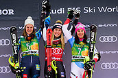 2nd February 2019, Maribor, Slovenia;  Winners of the Audi FIS Alpine Ski World Cup Women's Slalom Golden Fox on February 2, 2019 in Maribor, Slovenia. From left: Anna Swenn Larsson of Sweden, Mikaela Shiffrin of United States of America and Wendy Holdener of Switzerland