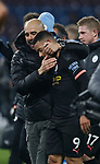Josep Guardiola manager of Manchester City hugs two goal scorer Gabriel Jesus of Manchester City at the end of the match during the Premier League match at Turf Moor, Burnley. Picture date: 3rd December 2019. Picture credit should read: Simon Bellis/Sportimage
