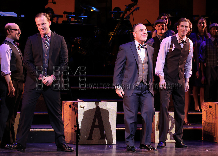 Jeremy Bobb, Adam Heller & Andrew Samonsky during the Curtain Call as former congressman Barney Frank makes his stage debut in 'Fiorello!', the opening musical of New York City Center's Encores! 20th Anniversary season on 2/2/2013