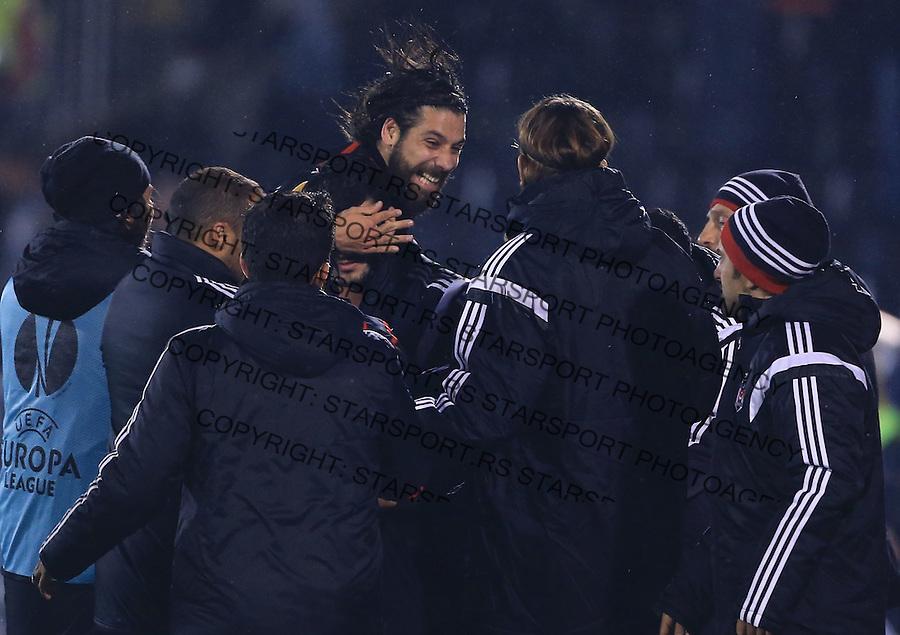 Fudbal Football Soocer<br /> UEFA Europe League <br /> Partizan v Besiktas<br /> Olcay Sahan (C) celebrate<br /> Beograd, 23.09.2014.<br /> foto: Srdjan Stevanovic/Starsportphoto&copy;