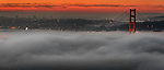 The San Francisco Golden Gate Bridge is engulfed by fog as seen  the city seen for the Marin headlands in Sausalito, California.