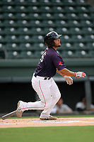 Catcher Alan Marrero (16) of the Greenville Drive bats in a game against the Delmarva Shorebirds on Friday, August 2, 2019, in the continuation of rain-shortened game begun August 1, at Fluor Field at the West End in Greenville, South Carolina. Delmarva won, 8-5. (Tom Priddy/Four Seam Images)