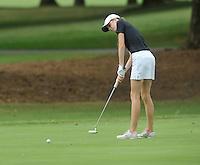 NWA Democrat-Gazette/MICHAEL WOODS &bull; @NWAMICHAELW<br /> Bentonville's Kate Robertson makes a putt during Bentonville's golf match against Har-Ber Tuesday August 18, 2015, at the Berksdale Golf Course in Bella Vista.