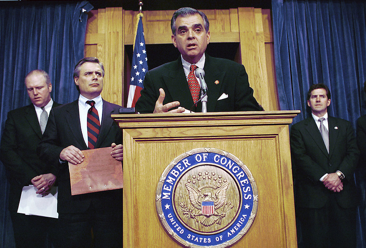 3/24/99.HERSHEY RETREAT--Ray LaHood, R-Ill., at podium, Joseph Crowley, D-N.Y., Tom Sawyer, D-Ohio, and Jim DeMint, R-S.C., during a news conference on the bipartisan retreat last weekend in Hershey, Pa..CONGRESSIONAL QUARTERLY PHOTO BY SCOTT J. FERRELL