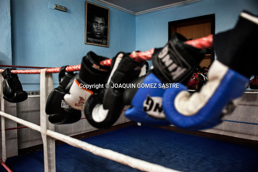 View of ring Martinez Boxing Club in the city of Alicante where Maria (female boxer) trains f