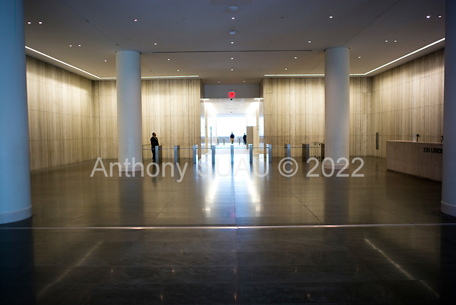 New York, New York<br /> March 20, 2020<br /> 3:07 PM<br /> <br /> Manhattan under the coronavirus pandemic. <br /> <br /> Office entrance at the Westfield World Trade Center is a shopping mall at the World Trade Center complex in Manhattan.<br /> <br /> Normally this space would be filled of people.