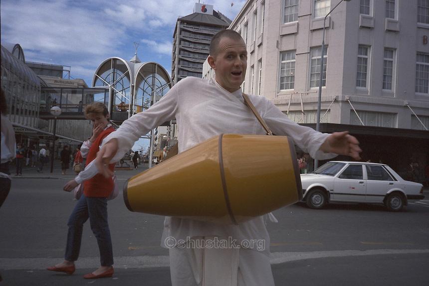 Hare Krishna drummer, Cashel Mall & Colombo St, Christchurch.