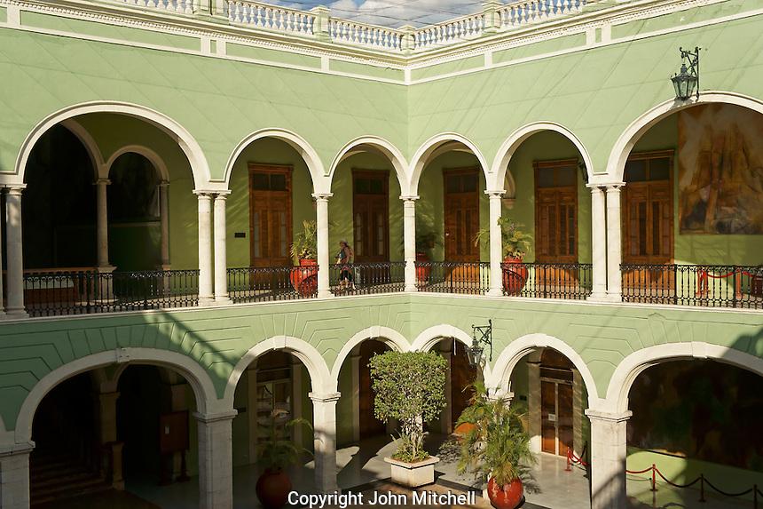 Portico and courtyard of the Government Palace or Palacio de Gobierno in Merida, Yucatan, Mexico