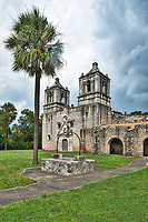 This is Mission Concepción with stormy skies looming over the church in downtown San Antonio.  Shortly after we took this the sky open up but love the look so happy we got this image. The Mission Cencepcion wes built in the 1755 and has been wll preserved for over two hundred years and it one of the few mission that has not been rebuilt. Mass is still given here every Sunday. The Battle of Concepcion was also fought here by James Bowie and James Fannin in 1835.  Watermark will not appear on image