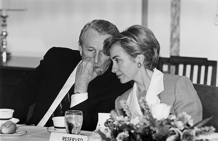Sen. Dale Leon Bumpers, D- Ark has the ear of Hillary Diane Rodham Clinton, First Lady of the United States, at small business lunchon. August 5, 1993 (Photo by Chris Martin/CQ Roll Call)