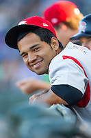 Alex Monsalve (24) of the Carolina Mudcats watches the action from the dugout during the game against the Winston-Salem Dash at BB&T Ballpark on June 6, 2014 in Winston-Salem, North Carolina.  The Mudcats defeated the Dash 3-1.  (Brian Westerholt/Four Seam Images)