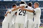 Real Madrid's Karim Benzema, Raphael Varane, Alvaro Morata, Sergio Ramos and Pepe celebrate goal and FC Barcelona's  during La Liga match.March 02,2013. (ALTERPHOTOS/Acero)