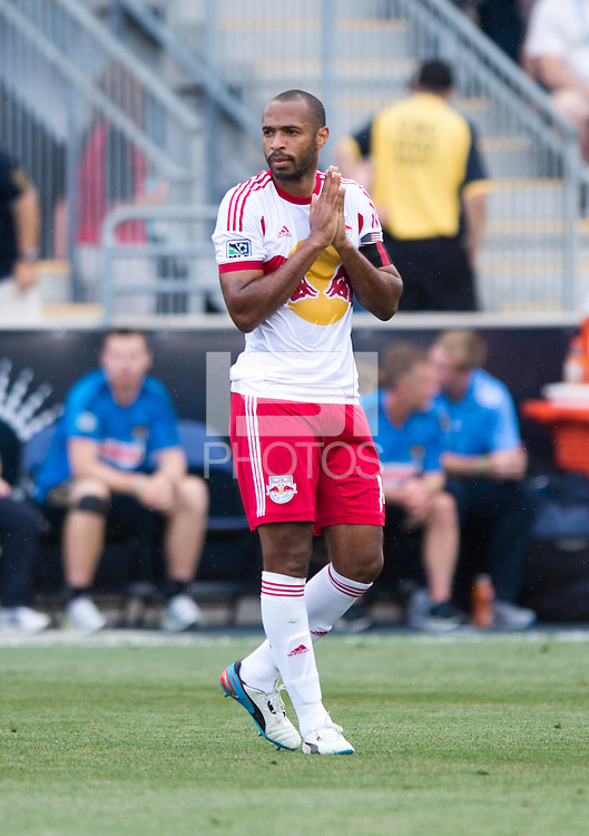 Thierry Henry (14) of the New York Red Bulls reacts to a missed chance during a Major League Soccer game at PPL Park in Chester, PA.  Philadelphia defeated New York, 3-0.