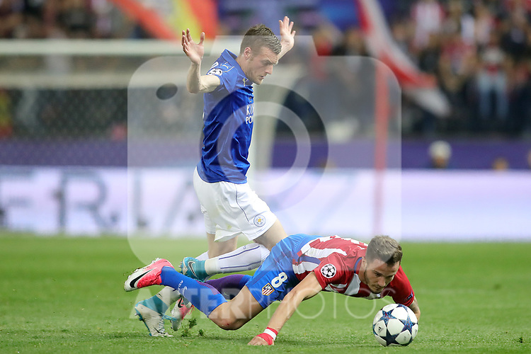 Atletico de Madrid's Saul Niguez (r) and Leicester City FC's Jamie Vardy during Champions League 2016/2017 Quarter-finals 1st leg match. April 12,2017. (ALTERPHOTOS/Acero)