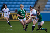16th March 2018, Ricoh Arena, Coventry, England; Womens Six Nations Rugby, England Women versus Ireland Women; Amy Cokayne of England is tackled by Nicole Cronin of Ireland