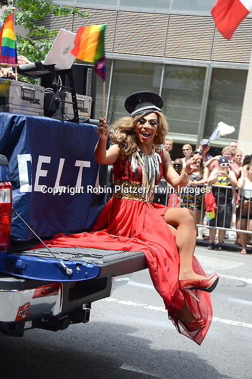 participent from RuPaul's Drag Show  attends the 2013 NYC Gay Pride Parade on June 30, 2013 on Fifth Avenue in New York City. The 3 Grand Marshalls were Harry Belafonte, Edie Windsor and <br /> Earl Fowlkes.