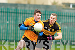 Stacks fullback Ferghal McNamara under pressure from Croke's Andrew Kenneally during their Div 1 County League game in Connolly Park on Sunday