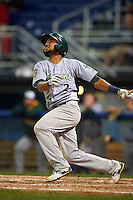 Vermont Lake Monsters second baseman Jesus Lopez (2) at bat during the second game of a doubleheader against the Batavia Muckdogs August 11, 2015 at Dwyer Stadium in Batavia, New York.  Batavia defeated Vermont 1-0.  (Mike Janes/Four Seam Images)