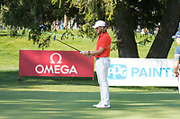 Tommy Fleetwood (ENG) lines up his putt on the 16th hole during second round at the Omega European Masters, Golf Club Crans-sur-Sierre, Crans-Montana, Valais, Switzerland. 30/08/19.<br /> Picture Stefano DiMaria / Golffile.ie<br /> <br /> All photo usage must carry mandatory copyright credit (© Golffile | Stefano DiMaria)